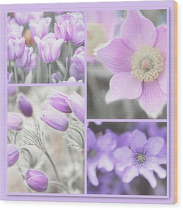Wood Print featuring the photograph Purple Spring Bloom Collage. Shabby Chic Collection by Jenny Rainbow