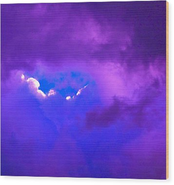 Purple Storm Wood Print by Gwyn Newcombe