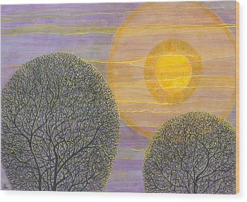 Purple Sunset Wood Print by Charles Cater