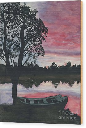Purple Sunset With Boat Wood Print by Patty Vicknair
