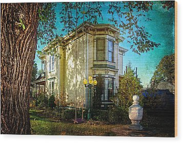 House With The Purple Swing Wood Print