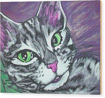 Purple Tabby Wood Print