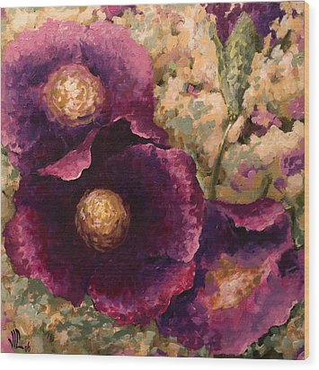 Purple Trio-flowers Wood Print