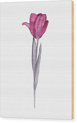 Purple Tulip Botanical Artwork Poster Wood Print by Joanna Szmerdt