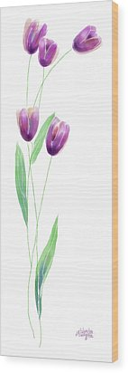 Purple Tulips Wood Print by Arline Wagner