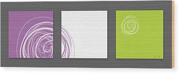Purple Twirl Wood Print by Nomi Elboim