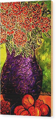 Wood Print featuring the painting Purple Vase by Laura  Grisham