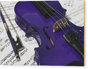 Purple Violin And Music V Wood Print
