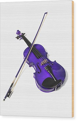 Purple Violin Wood Print