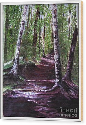 Wood Print featuring the painting Purple Walk by Sibby S