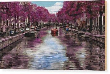 Purple Water Wood Print