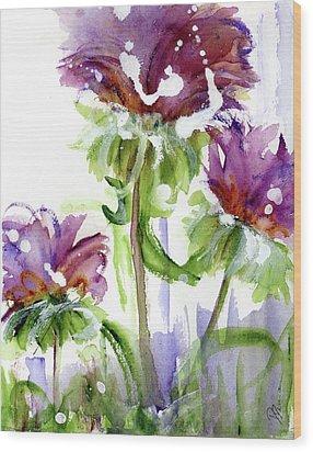 Wood Print featuring the painting Purple Wildflowers by Dawn Derman
