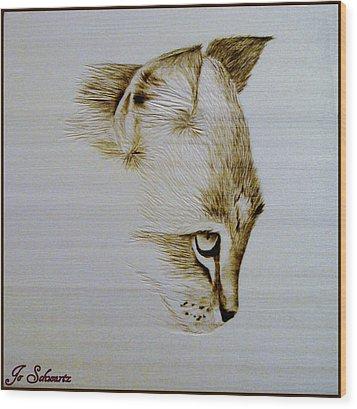 Purrfect Study 2 Wood Print by Jo Schwartz