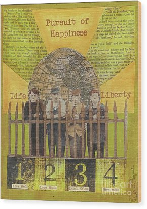 Wood Print featuring the mixed media Pursuit Of Happiness by Desiree Paquette