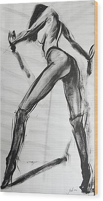 Wood Print featuring the painting Puss In Boots by Jarko Aka Lui Grande