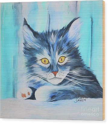 Wood Print featuring the painting Pussy Cat by Jutta Maria Pusl