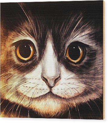 Pussycat Wood Print by Anastasis  Anastasi