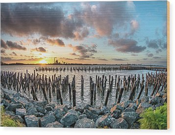 Wood Print featuring the photograph Pylons Mill Sunset by Greg Nyquist