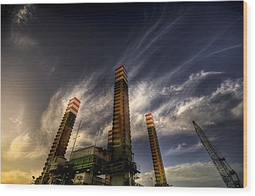 Wood Print featuring the photograph Pylons by Wayne Sherriff