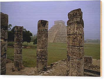 Pyramid At Chichen Itza Wood Print