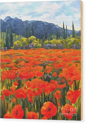 Pyrenees Poppies Wood Print
