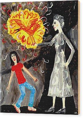 Pyro The Firebird Wood Print by Sushila Burgess