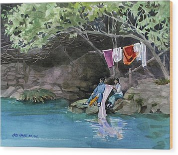 Wood Print featuring the painting Laundry Day by Kris Parins