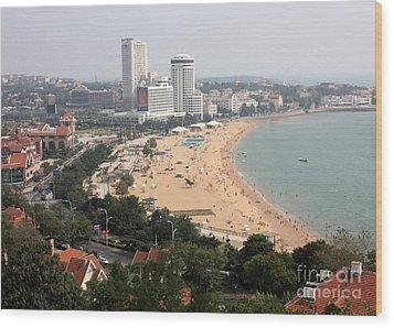 Qingdao Beach With Skyline Wood Print by Carol Groenen