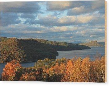 Quabbin Reservoir Foliage View Wood Print by John Burk