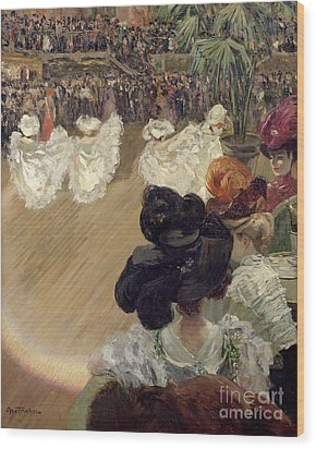 Quadrille At The Bal Tabarin Wood Print by Abel-Truchet