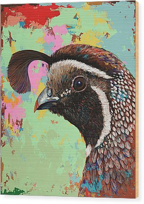 Wood Print featuring the painting Quail by David Palmer