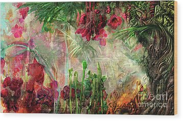 Wood Print featuring the digital art Qualia's Jungle by Russell Kightley