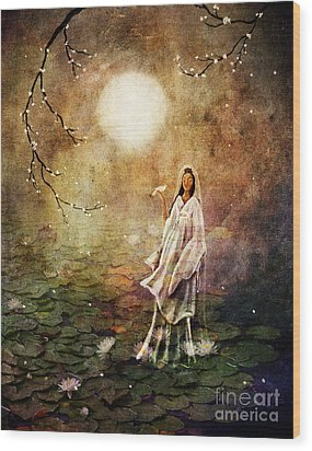 Quan Yin In A Lotus Pond Wood Print by Laura Iverson