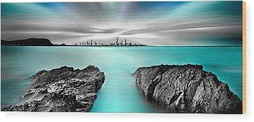 Quantum Divide Panorama Wood Print by Az Jackson