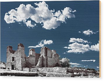 Quarai New Mexico - Infrared False Color Wood Print by Christine Till