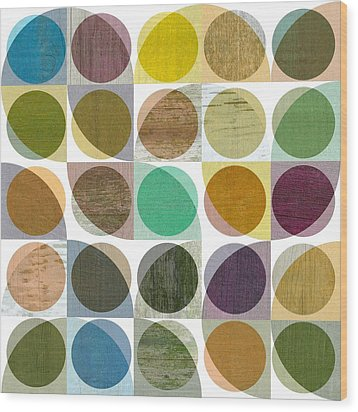 Quarter Circles Layer Project One Wood Print by Michelle Calkins
