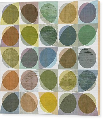 Quarter Circles Layer Project Three Wood Print by Michelle Calkins