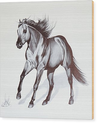 Quarter Horse At Lope Wood Print