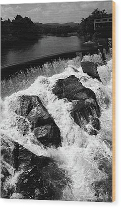 Wood Print featuring the photograph Quechee, Vermont - Falls 2 Bw by Frank Romeo