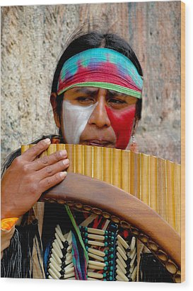 Quechuan Pan Flute Player Wood Print