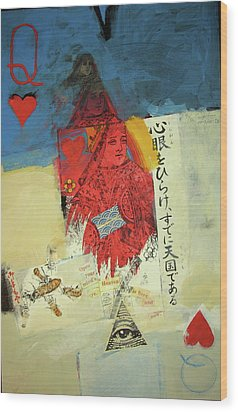 Wood Print featuring the mixed media Queen Of Hearts 40-52 by Cliff Spohn