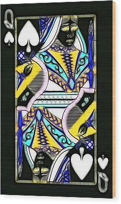 Queen Of Spades - V2 Wood Print by Wingsdomain Art and Photography