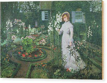 Queen Of The Lilies Wood Print by John Atkinson Grimshaw