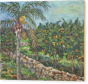 Queen Palm And Oranges Wood Print by Lily Hymen