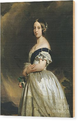 Queen Victoria Wood Print by Franz Xaver Winterhalter