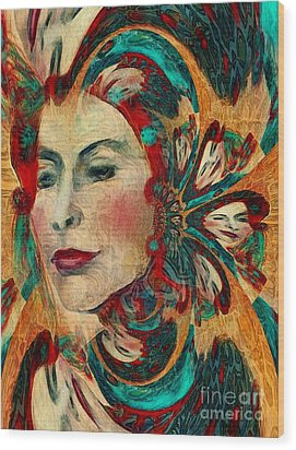 Wood Print featuring the digital art Queenie by Alexis Rotella