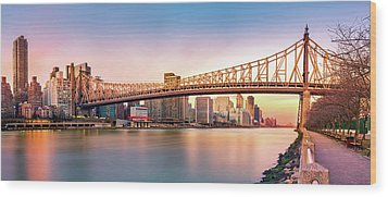 Queensboro Bridge At Sunset Wood Print