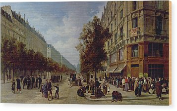 Queueing At The Door Of A Grocery Wood Print by Jacques Guiad