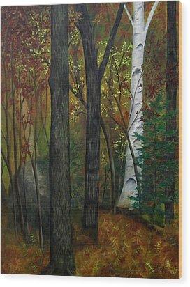 Quiet Autumn Woods Wood Print