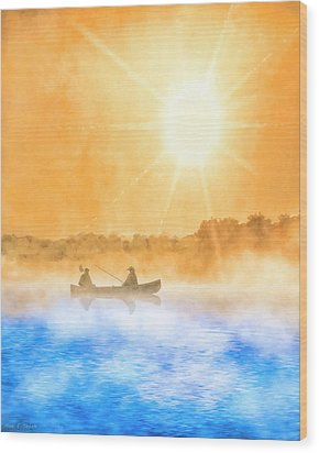 Wood Print featuring the painting Quiet Moments - Fishing At Dawn by Mark Tisdale